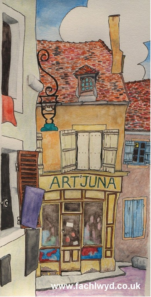 Painting of shop, Art'Juna, France by artist Martin Kaye