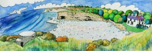 Painting of Tresillian Bay Llantwit Major by Martin Kaye, May 2006 (c)