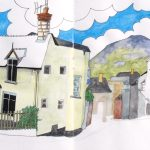 Sketch of Iwerddon, one of the houses on Castle Street, Ruthin