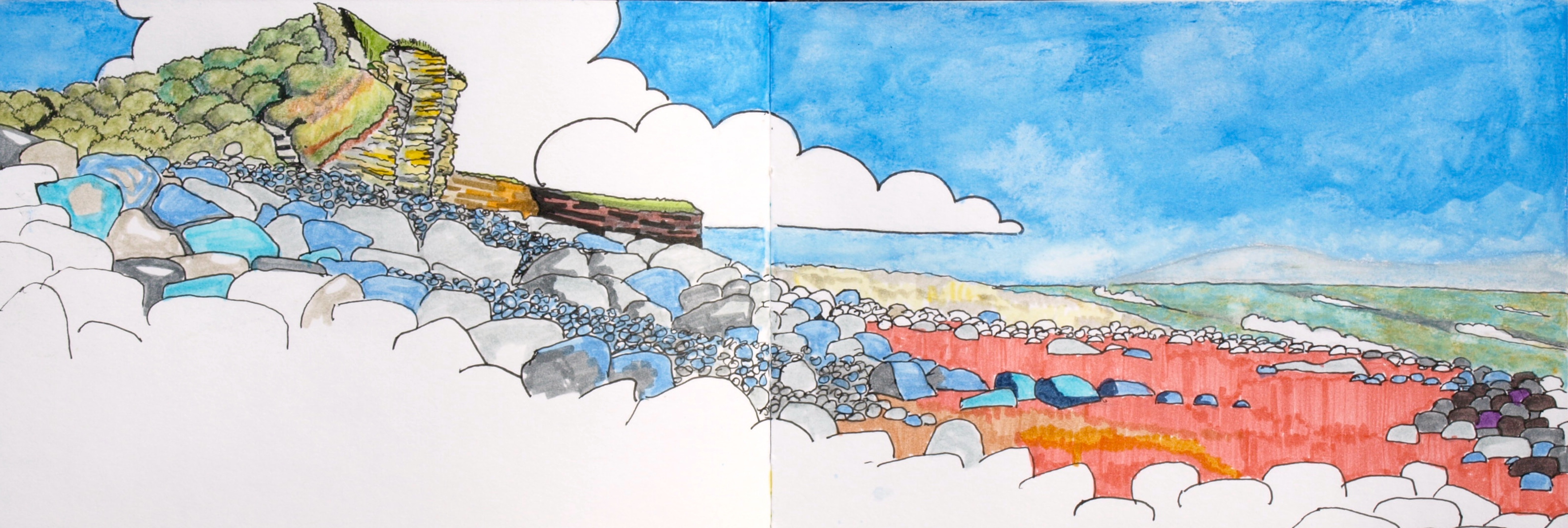Sketchbook drawing of the Beach and Col-huw Point