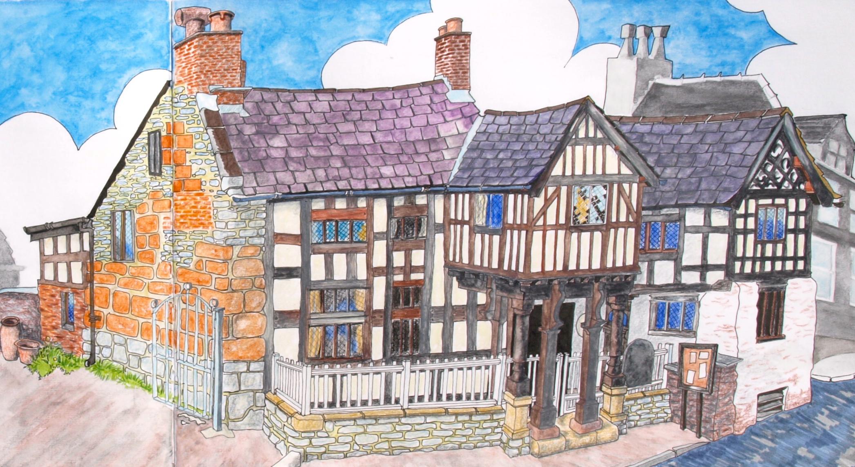 Sketch book illustration of Nant Clwyd y Dre