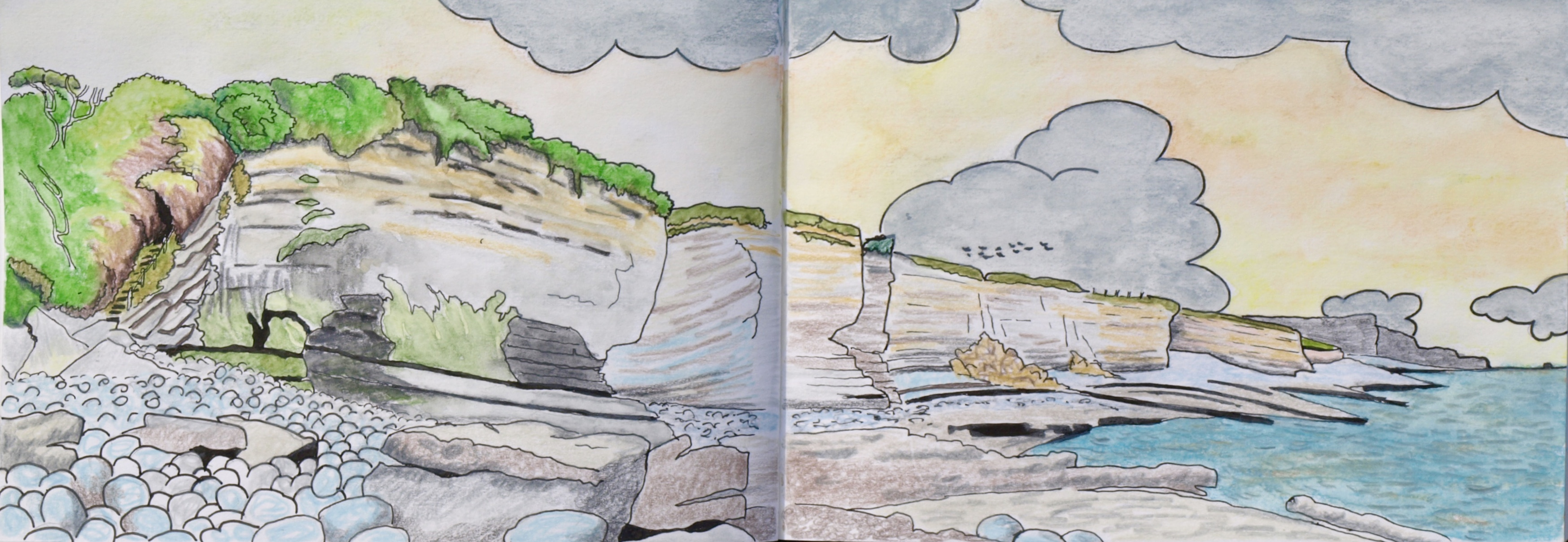 Sketch from Stradling Well, Atlantic College near Llantwit Major